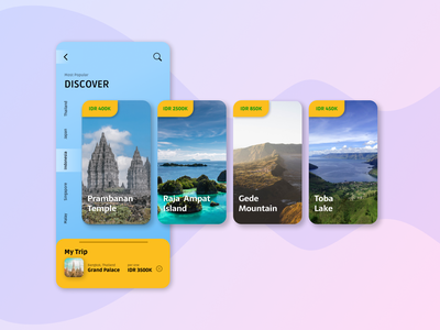 Trip App: Indonesian's Great Places typography soft iphone x iphone discovery adventure trip travel figma ui flat design art app