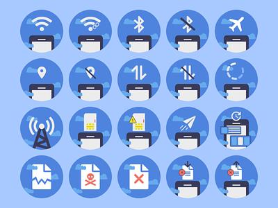 Comunication Icon Set adobe xd vector art flat design colorful illustration upload download crash page update send message sim card signal refresh airplane mode wifi communication