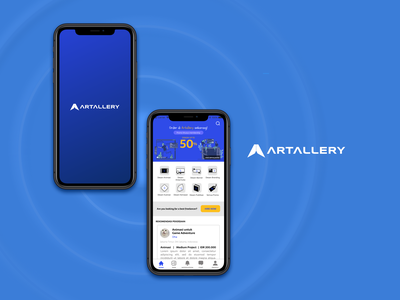 Artallery - Freelance platform mockup psd gallery mobile platform freelance mockup branding vector minimal illustration figma app art ui flat design
