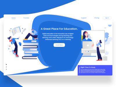 Education Web UI Design ui design illustraion education blue adobexd websitedesign webui ux ui