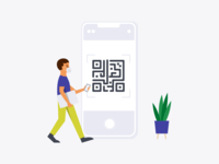QR code sign-in plant person health phone employee mask returning to work covid touchless