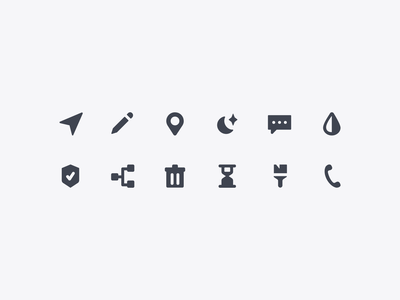 New icon set filled navigation phone paintbrush hourglass trash conditional badge shield drop water chat moon pencil location icon