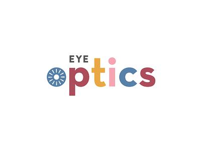 Eye Optics concept colorful logo branding eyesight medical doctor office optometrist eyes