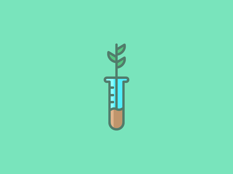 August 17: Experiment science leaf flower grow plant tube test experiment icon daily icon diary 365cons