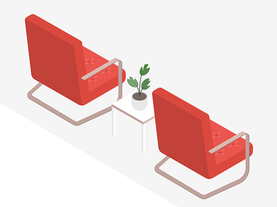 Illo peek 👀 office sofa isometric plant furniture chairs wip illustration