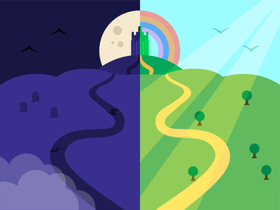Two Paths illo sunlight moon clouds tombstone nature road path darkness sunshine evil good two paths rainbow city oz illustration