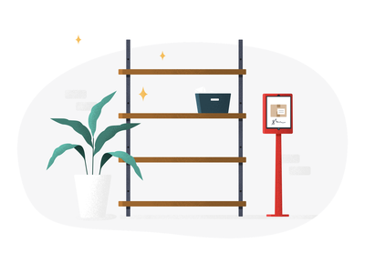 Deliveries Empty State box illo wood brick clean package mail bookcase plant illustration