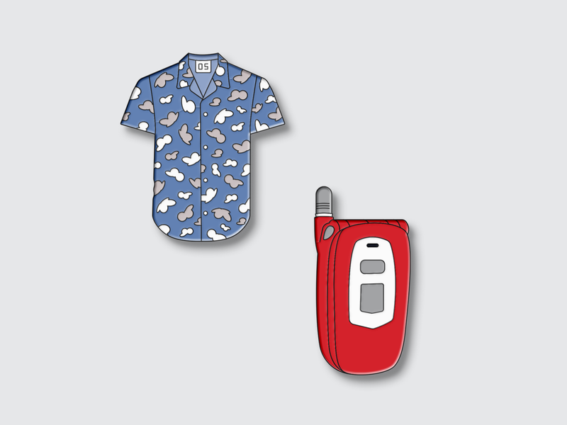 Product pins pattern clothing flip pin enamel hawaiian retro phone shirt envoy mobile rooms