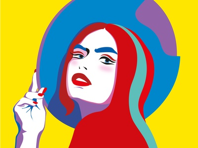 A woman art illustrator ui minimal vector flat illustration design
