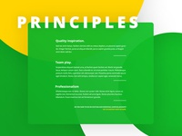 Principles - screenshot from one pager