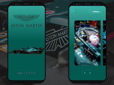 Aston Martin Team F1 App ux astonmartin motorsports car sport formulaone f1 sebastianvettel branding logo illustration uiux ui design prototype product designs design