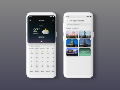 Weather mobile app ui design concept clay mockup places mobile ui mobile uiux branding blackandwhite design ux adobexd ui