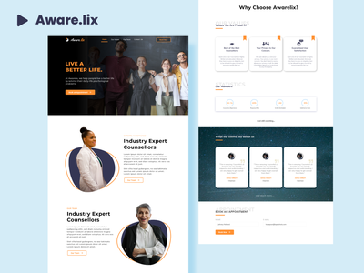 Awarelix Website homepage- psychology psychiatrist consultation modern cards header homepage white black yellow orange website psychiatrist psychology figma minimal webdesign uiux ux design adobexd ui
