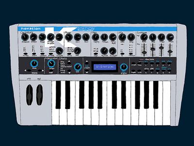 Novation K-Station synthesizer synth drawing illustration art