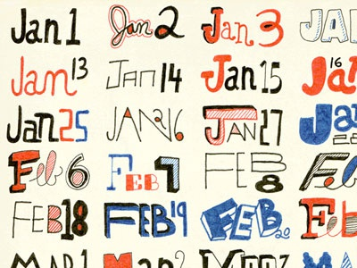 2012 Calendar // 366 Days // 366 Drawings 2012 calendar hand drawn type typography 366