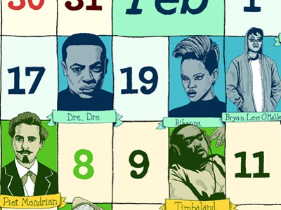 2011 Calendar of Famous People I Like 2011 calendar drawing hand drawn type color poster
