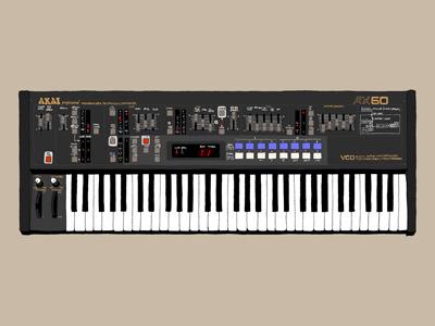 Akai AX60 synth synthesizer drawing art illustration