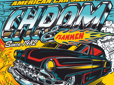 Design Chrom & Flammen kustom kulture american cars chrom  flammen chrome pinstripping flames rocknroll rockabilly v8 chevy hot-rod