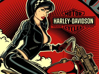 MOTORCYCLES pin-up motorcycle harley-davidson