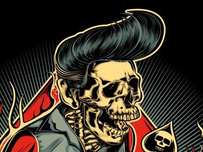 HELL BENT ON ROCKIN guitar rockabilly rocknroll skull