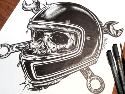 ORIGINALl SKULL DEATHTRAP kustom custom garage skull biker motorcycle harley-davidson