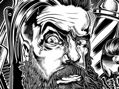 "Design ""ALEX HAIRCUT'S BARBERSHOP"" kustom kustom kulture tattoo rockabilly skull d.vicente illustration hair cut babershop barber"