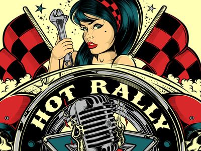 HOT RALLY MURCIA CHAPTER dvicente-art illustration biker harley-davidson kustom kulture tattoo motorcycle rockabilly david vicente skull d.vicente pin-up
