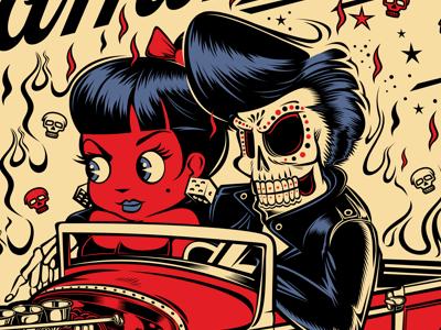 EL CAMINO DEL LOCO rockabilly illustration rocknroll kustom kulture d.vicente david vicente skull pin-up