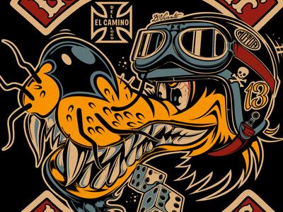 LONE-WOLF MOTORCYCLES dvicente-art rockabilly biker wolf d.vicente illustration kustom kulture motorcycle
