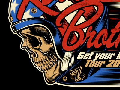 ROAD BROTHERS harkey-davidson biker illustration d.vicente skull motorcycle kustom kulture