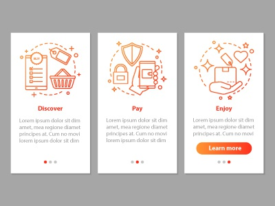 Online shopping onboarding app illustraion page infographic step shop store payment concept mobile design icon appscreen screen app ui onboarding online shopping onlineshopping