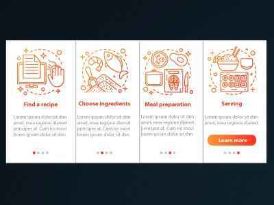 Catering onboarding mobile app pages