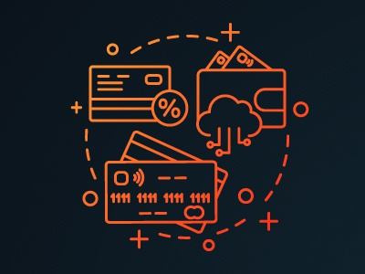 Debit and credit cards concept icon