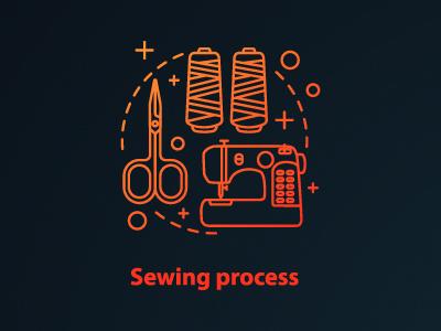 Sewing process concept icon logo graphic sewing process outline design process icon drawing clothes clothing fashion idea thread scissors needle concept tailoring sewing machine sewing sew