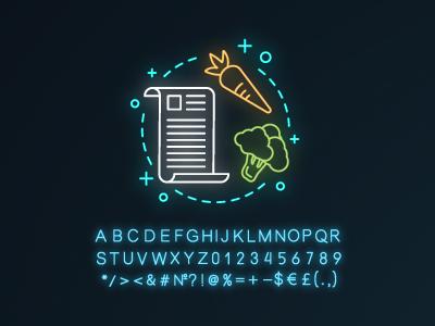 Discover recipe neon light concept icon