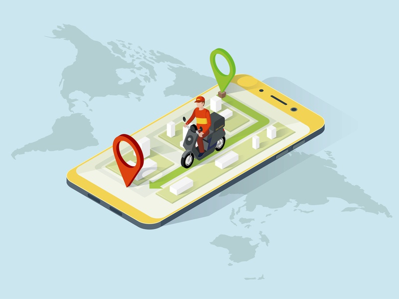 Delivery App Isometric Website Template phone online 3d motorcyle isometric courier food business design service app mobile vector illustration concept isometry motorbike delivery man delivery app delivery
