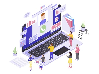 Client service isometric vector illustration