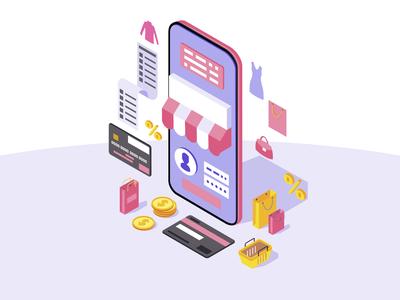Online mobile shopping app isometric color vector illustration