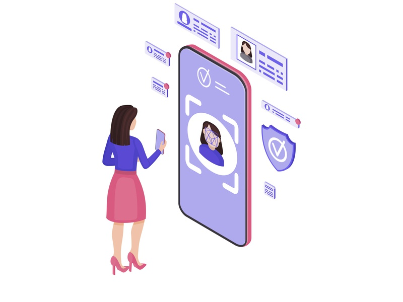 Faceprint analysis application isometric vector illustration identity protection online app banking access 3d identification lock smartphone data protection recognition face isometry iso isometric vector illustration design concept