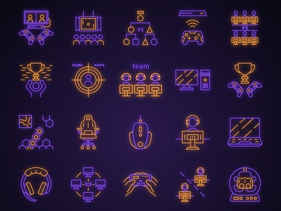 Esports neon light icons set