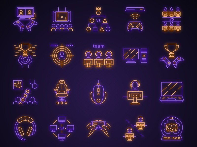 Esports neon light icons set cup play player multiplayer online light tournament device gamer industry game videogame neon esports design logo vector illustration concept icon