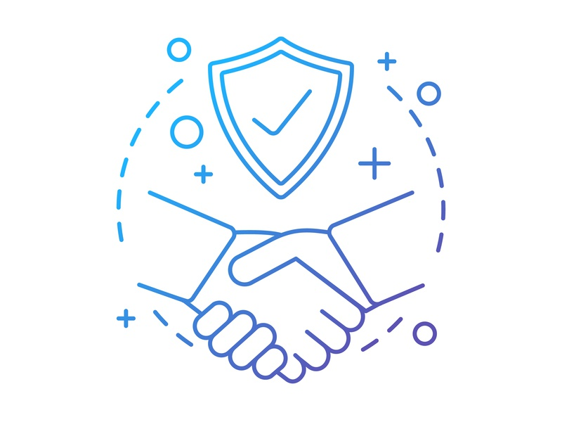 Trust concept icon shield shaking hands deal protection element web logo life insurance thin defence partnership business trust idea vector illustration design icon concept
