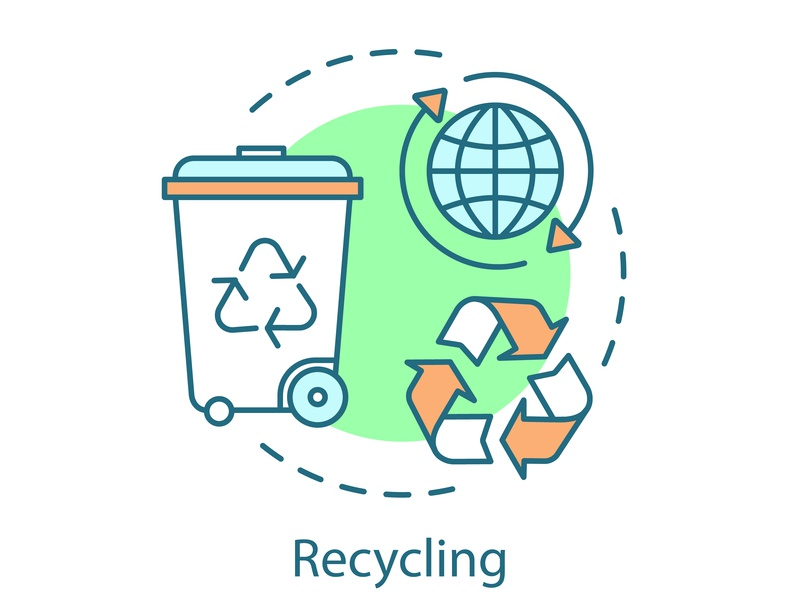 Recycling concept icon renewable renew reuse editorial editable technology green planet management save eco waste reduction line recycling vector illustration design icon concept