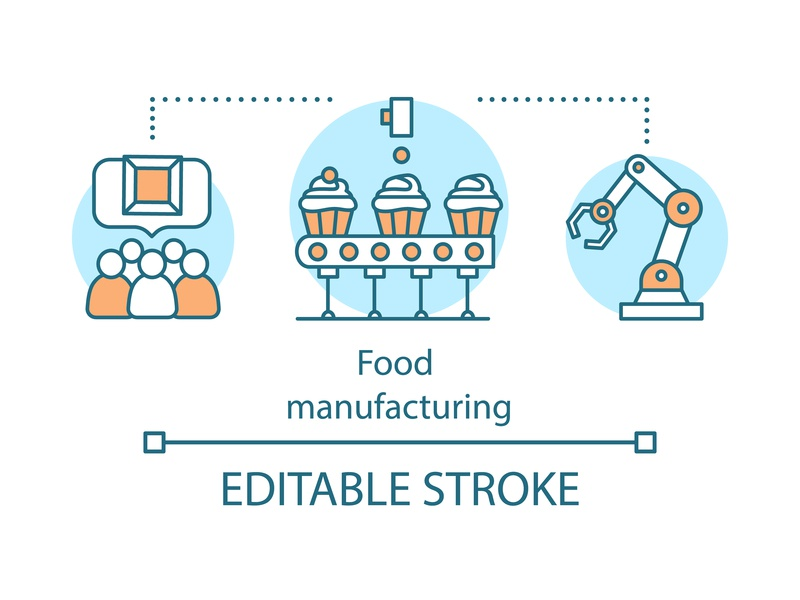 Food industry concept icon conveyor modern automated robot producing isolated editorial editable technology meal industry food manufacturing notion business vector illustration design icon concept