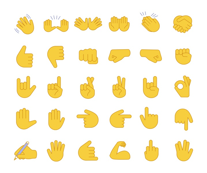 Hand gesture emojis color icons set palms fingers messenger message emoticon social media socialmedia cartoon arm icon set set emoji line gesture hand vector design illustration icon concept