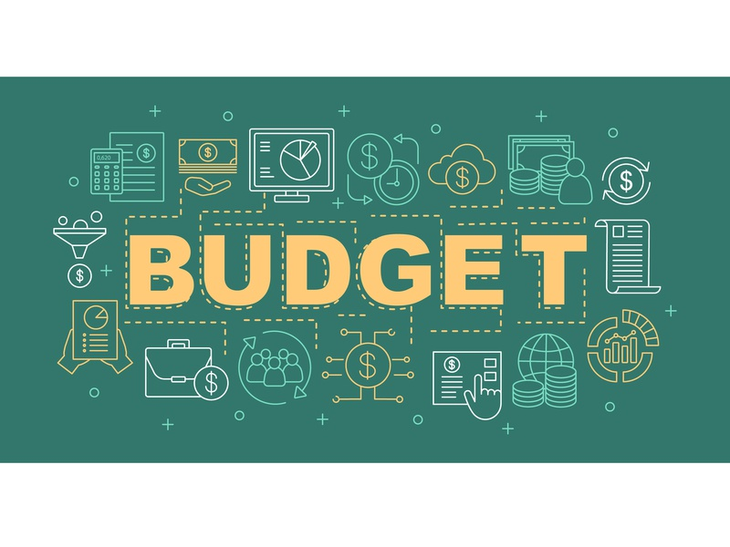 Budget word concepts banner branding startup service statistics money income budget financial finance online business word text infographic idea vector illustration design icon concept