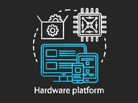 Computer components, hardware platform chalk concept icon