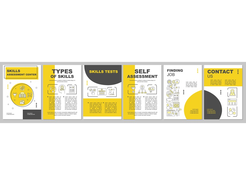 Skills assessment yellow brochure template layout employment recruiting hr assessment skills flyer layout brochure vector graphics icongrapher icongraphy web graphics icondesign icon illustration icon creation vector illustration design icon concept