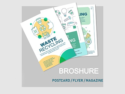 Waste recycling brochure design print cover icon style flyer layout ecofriendly zerowaste green ecology eco typography branding concept recycling waste vector illustration design brochure
