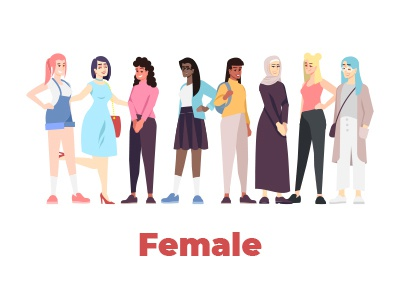 Female characters design vector illustration